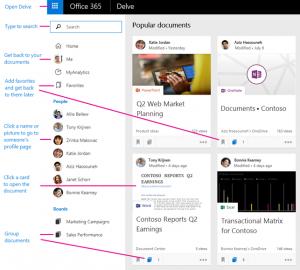Microsoft delve screen shot